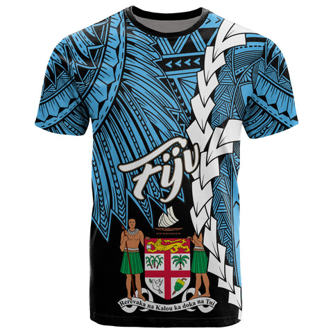 Image of Fiji Polynesian T-Shirt - Tribal Wave Tattoo Flag Style
