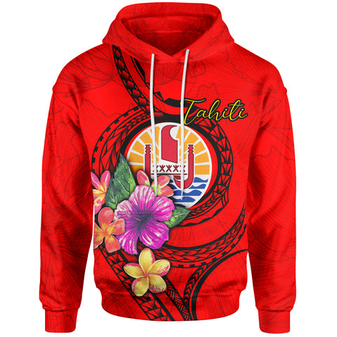 Tahiti Polynesian Hoodie - Floral With Seal Red