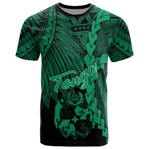 Image of Tonga Polynesian T-Shirt - Tribal Wave Tattoo Green