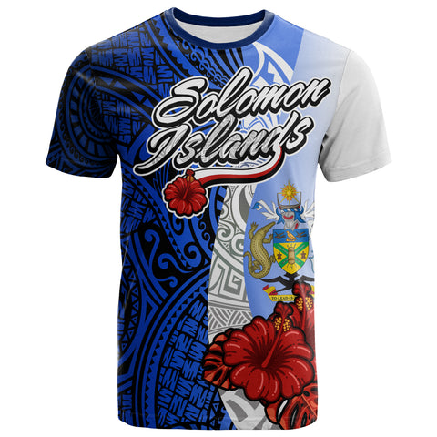 Solomo Islands Polynesian T-shirt - Coat Of Arm With Hibiscus