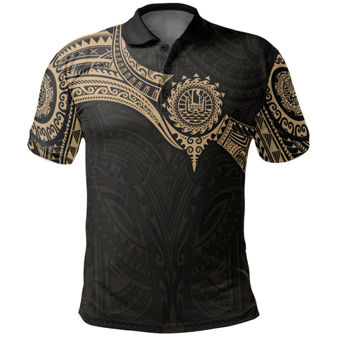 Image of Tahiti (French Polynesia) Polynesian Polo Shirt - Gold Heart Shield