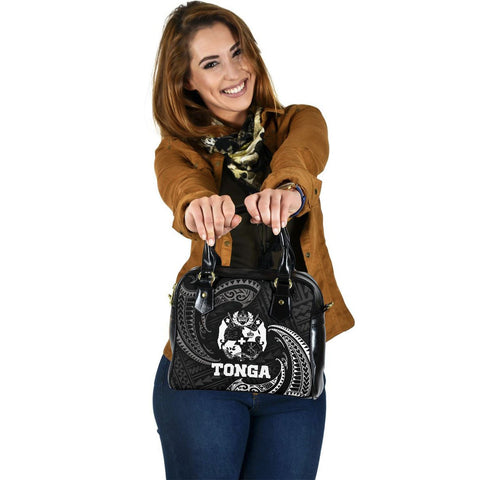 Tonga Polynesian Shoulder Handbag - White Tribal Wave - BN12