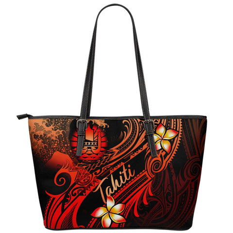 Tahiti Polynesian Leather Tote Bag - Plumeria Flowers And Waves - BN12