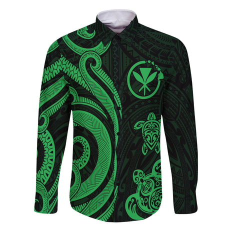 Hawaii Long Sleeve Shirts Green - Tentacle Turtle