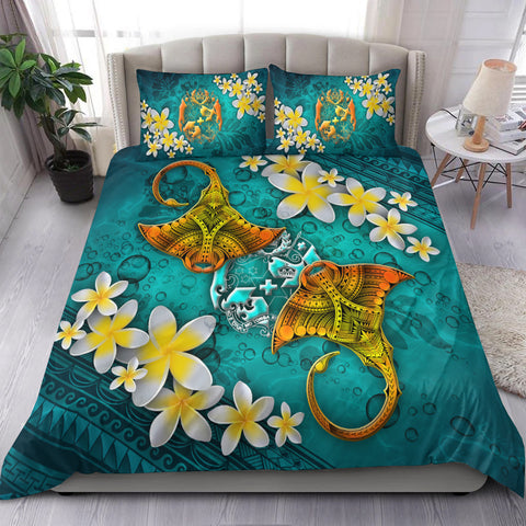 Image of Tonga Polynesian Bedding Set - Manta Ray Ocean - BN12
