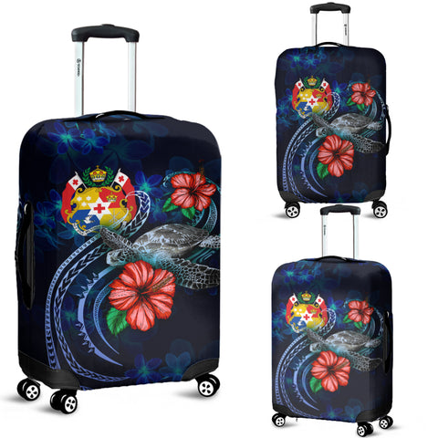 Image of Tonga Polynesian Luggage Cover - Blue Turtle Hibiscus