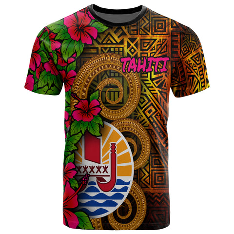 Image of Tahiti Polynesian T-Shirt - Tiki With Hibiscus