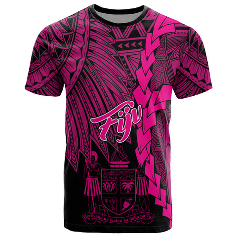 Fiji Polynesian T-Shirt - Tribal Wave Tattoo Pink