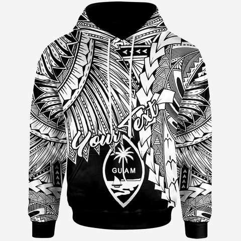 Guam Polynesian Custom Personalised Hoodie - Tribal Wave Tattoo White