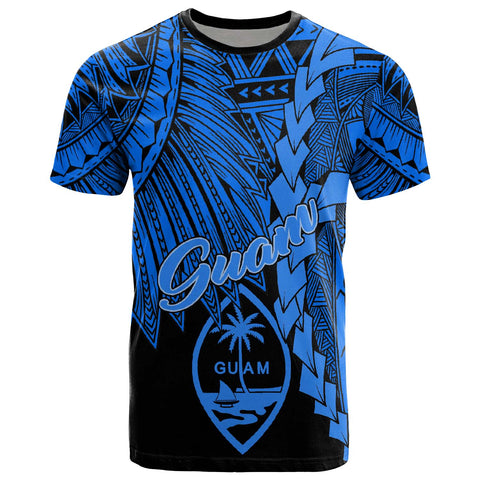 Guam Polynesian T-Shirt - Tribal Wave Tattoo Blue
