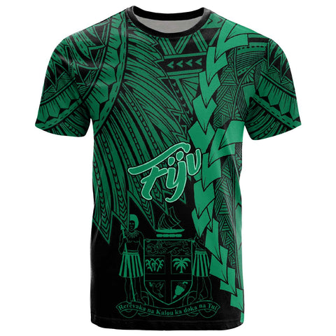Fiji Polynesian T-Shirt - Tribal Wave Tattoo Green