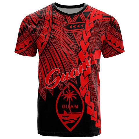 Guam Polynesian T-Shirt - Tribal Wave Tattoo Red