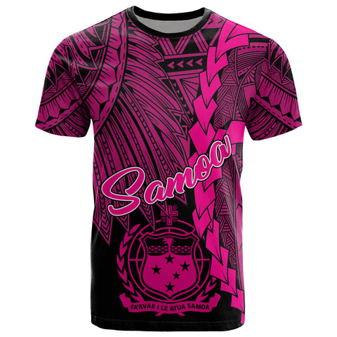 Samoa Polynesian T-Shirt - Tribal Wave Tattoo Pink