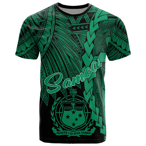 Image of Samoa Polynesian T-Shirt - Tribal Wave Tattoo Green