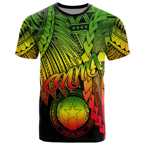 Image of Northern Mariana Islands Polynesian T-Shirt - Tribal Wave Tattoo Reggae