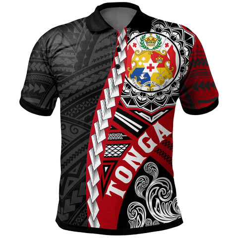 Tonga Polynesian Polo Shirt - Wave Tattoo