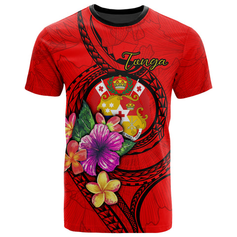 Tonga Polynesian T-shirt - Floral With Seal Red