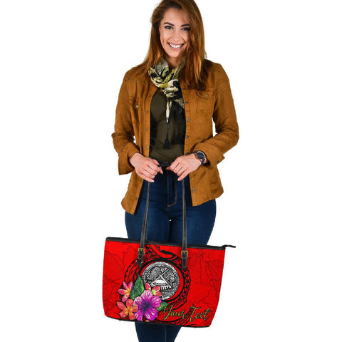 American Samoa Polynesian Custom Personalised Large Leather Tote - Floral With Seal Red - BN12