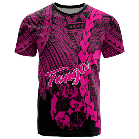 Tonga Polynesian T-Shirt - Tribal Wave Tattoo Pink