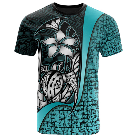 Polynesian T-Shirt Turquoise - Turtle with Hook