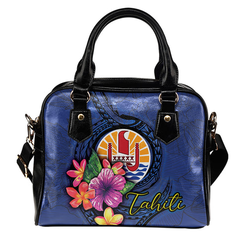 Tahiti Polynesian Shoulder Handbag - Floral With Seal Blue
