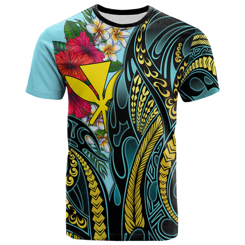 Hawaii T-Shirt Turquoise - Gold Tribal and Hisbiscus Plumeria