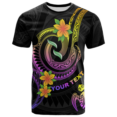 Polynesian Custom Personalised T-Shirt - Plumeria Flowers with Twirl Patterns