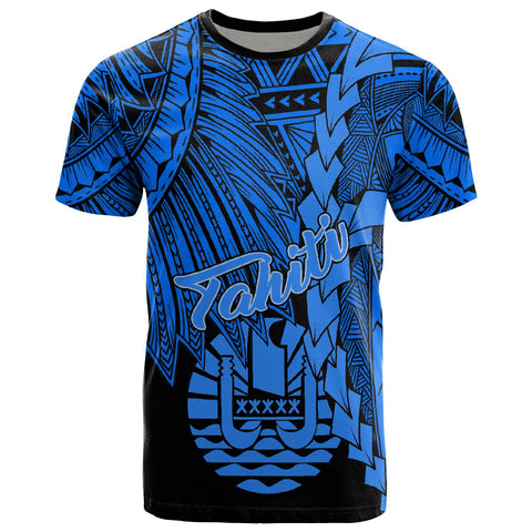 Tahiti Polynesian T-Shirt - Tribal Wave Tattoo Blue