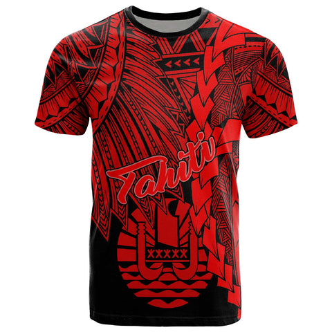 Tahiti Polynesian T-Shirt - Tribal Wave Tattoo Red