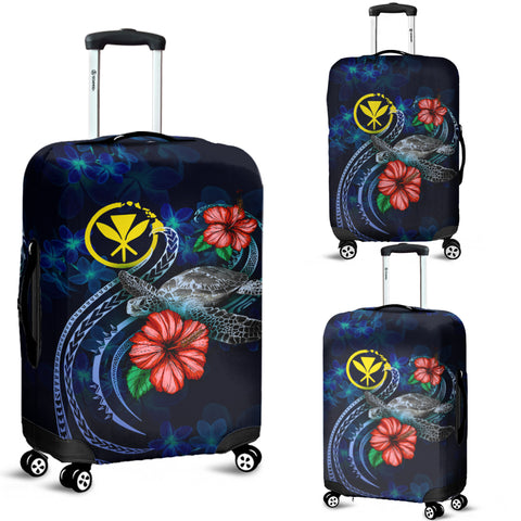 Hawaii Polynesian Luggage Cover - Blue Turtle Hibiscus