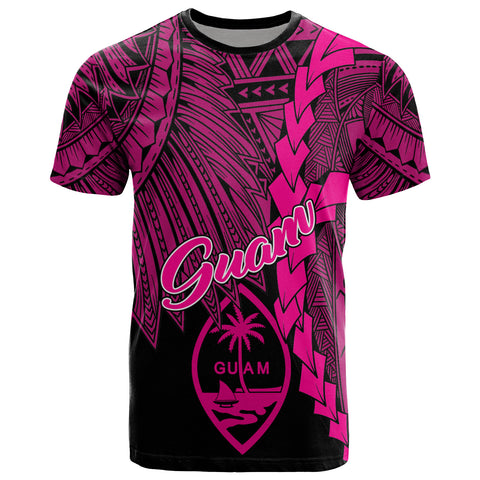 Guam Polynesian T-Shirt - Tribal Wave Tattoo Pink