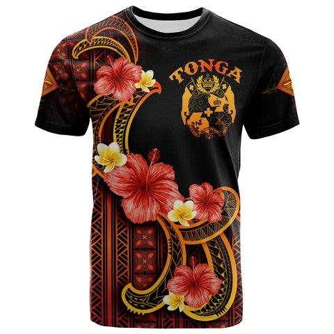 Image of Tonga T-Shirt - Hibiscus Plumeria Mix Tribal Leaves