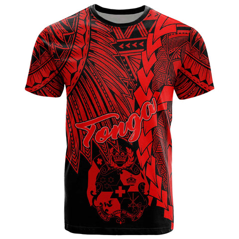 Image of Tonga Polynesian T-Shirt - Tribal Wave Tattoo Red