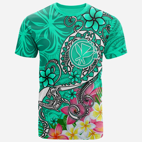 Hawaii T-shirt - Turtle Plumeria Polynesian Tattoo Turquoise Color