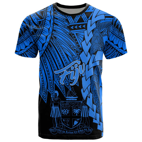 Fiji Polynesian T-Shirt - Tribal Wave Tattoo Blue