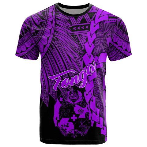 Tonga Polynesian T-Shirt - Tribal Wave Tattoo Purple
