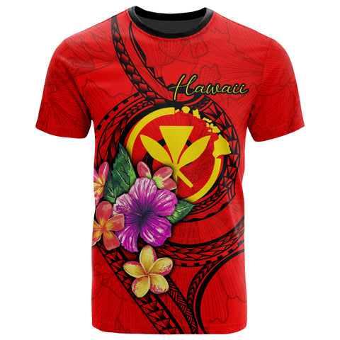 Hawaii Polynesian T-shirt - Floral With Seal Red