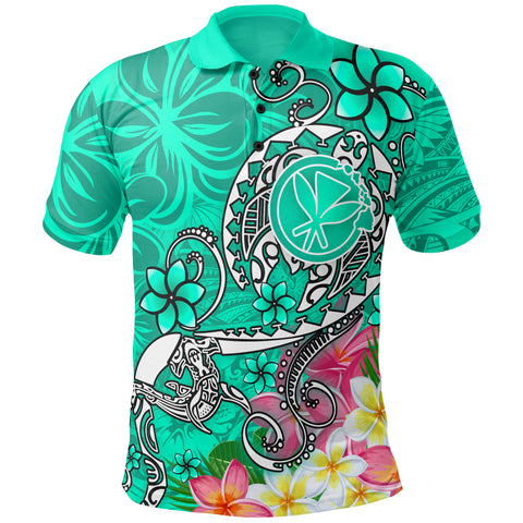 Image of Hawaii Polo Shirt - Turtle Plumeria Polynesian Tattoo Turquoise Color