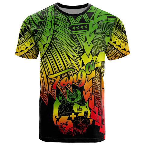 Image of Tonga Polynesian T-Shirt - Tribal Wave Tattoo Reggae
