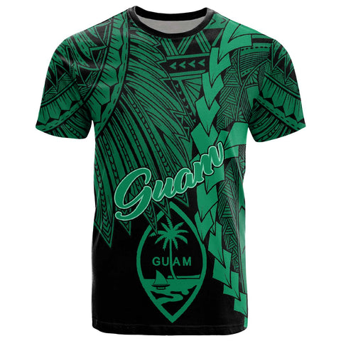 Image of Guam Polynesian T-Shirt - Tribal Wave Tattoo Green