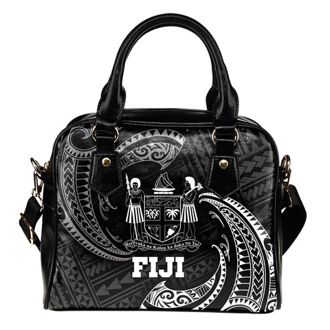 Fiji Polynesian Shoulder Handbag - White Tribal Wave