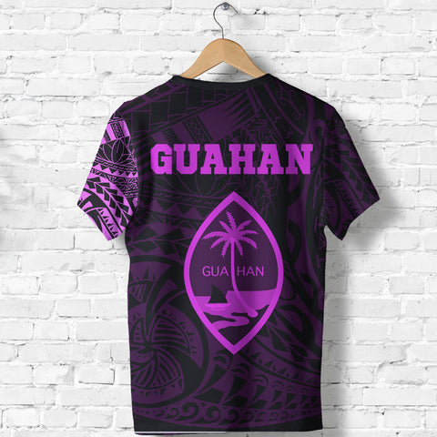 Guahan T-Shirt - Guahan Coat Of Arms Polynesian Tattoo Style Pink - A7 1ST