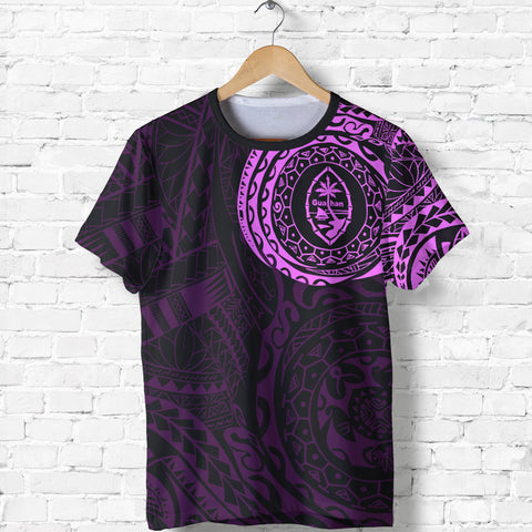 Image of Guahan T-Shirt - Guahan Coat Of Arms Polynesian Tattoo Style Pink - A7 1ST