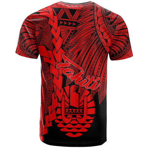 Tahiti Polynesian Custom Personalised T-Shirt - Tribal Wave Tattoo Red - BN12