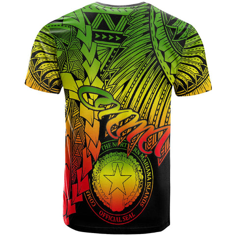 Image of Northern Mariana Islands Polynesian Custom Personalised T-Shirt - Tribal Wave Tattoo Reggae - BN12