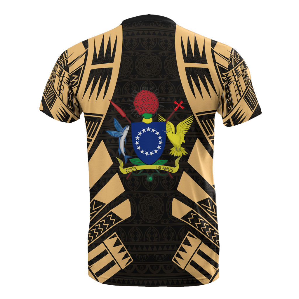 Cook Islands T Shirt Tattoo Gold Style Polynesian Print