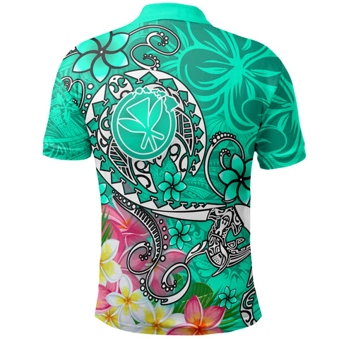 Image of Hawaii Polo Shirt - Turtle Plumeria Polynesian Tattoo Turquoise Color - BN18