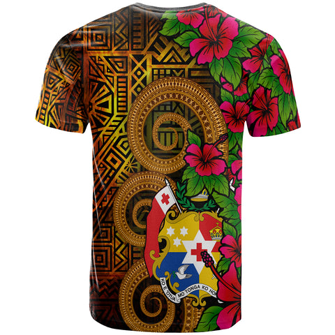 Image of Tonga Polynesian Custom Personalised T-Shirt - Hibiscus Vintage - BN12