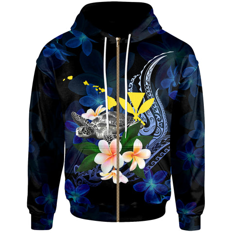 Polynesian Hawaii Zip-Up Hoodie - Turtle With Plumeria Flowers