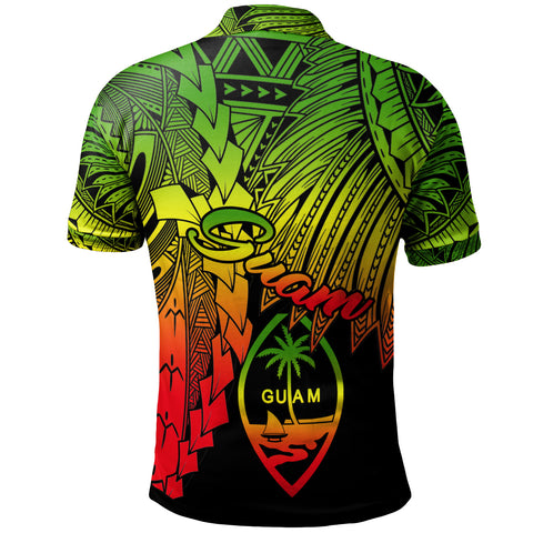 Image of Guam Polynesian Custom Personalised Polo - Tribal Wave Tattoo Reggae - BN12